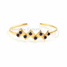 Lapis Lazuli Gemstone Gold Plated Sterling Silver Bangles para fornecimento por grosso