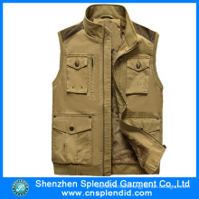 Garment Manufacturer Wholesale Mens Fleece Winter Brown Denim Vest