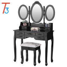 Набор туалетных столиков с овальной зеркальной косметикой, 7 ящиков и табуретка, черный