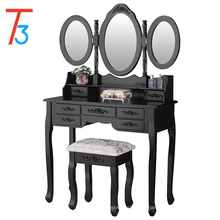 Vanity Table Set with Oval Mirror Makeup Dressing 7 Drawers and Stool,Black