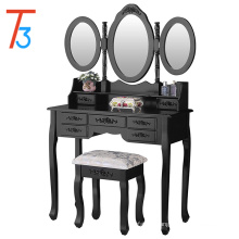 Conjunto de mesa vaidade com espelho oval maquiagem 7 gavetas e fezes, preto