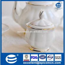 Maceta de azúcar de lujo para el juego de té, olla de azúcar de cerámica blanca con borde de oro
