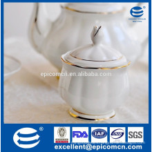 luxury sugar pot for tea set, white ceramic sugar pot with gold rim