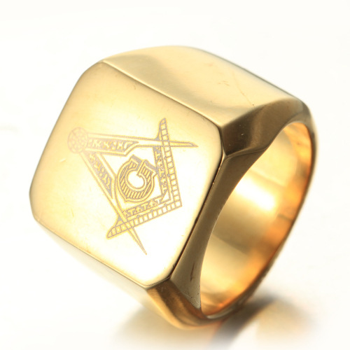 Stainless Steel Signet Pattern Ring