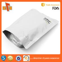 2016 Alibaba Goldener Lieferant Silber Reißverschluss Aluminiumfolie Verpackungsbeutel mit Stand-up-Typ