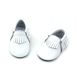 High Quality Baby Shoes with Fringe White Moccasin Shoes