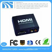VGA para HDMI conversor preto metal box1080P VGA para HDMI conversor VGA + R / L Audio para conversor HDMI caixa