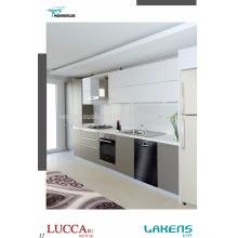 Moderner Art-preiswerter Preis-Küche-Schrank mit integriertem Aluminiumhandgriff und weicher Touch-Pvc-Tür