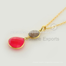 Handmade Vermeil Gold Semi Precious Gemstone Long Chain Necklace Jewelry For Christmas