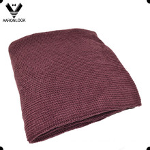 Solid Maroon Color Acrylic Winter Warm Knitted Blanket