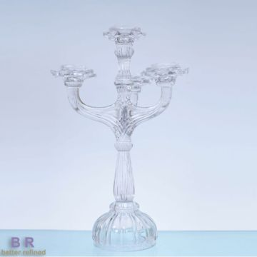 Crystal Glass Candelabra Candle Holder