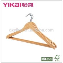 Perchas de la camisa del palillo de bambú curvadas a granel con la barra redonda y muescas