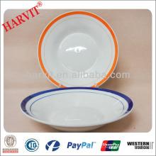 Plats en céramique ronde d'hôtel et de restaurant Lignes de couleurs Assiettes à soupe / soupe / Vente en gros Vaisselle Vaisselle Plats bon marché Assiettes