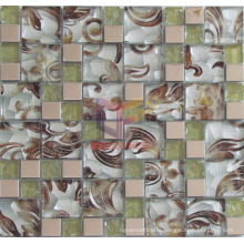 Cracked Glass with Flower Pattern Backed Crystal Mosaic (CFC572)