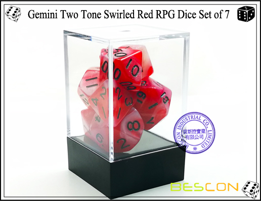 Gemini Two Tone Swirled Red RPG Dice Set of 7-2
