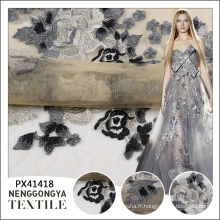 Pas cher fleur fantaisie motif broderie transparente en gros robe tissu