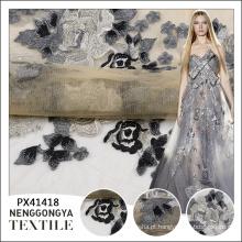 Cheap fantasia flor padrão bordado transparente atacado vestido de tecido