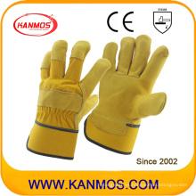 Cuero de vaca de vaca cuero de grano de trabajo guantes de trabajo de seguridad (12003)