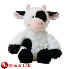 Conozca EN71 y ASTM estándar ICTI juguete de peluche de fábrica de peluche de juguete vaca negro