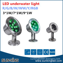 Factory price green/red/rgb 12V/24V led secure underwater lamp fixture 7x1W, led underwater fountain light 7W