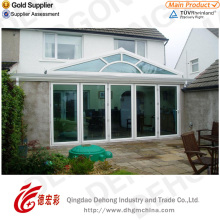 White Profile PVC Door with Tempered Glass