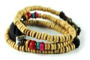 Fashion Ethnic Wood Bead Bracelets Stone Leather Bracelet Bangle Wristband M0012