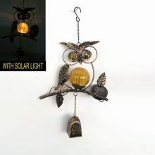 Solar Lighted Garden Decoration Bronze Finish Metal Owl Windbell Craft