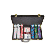 La viruta de póker 300PCS fijó en la caja de madera (SY-S21)