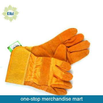 Fireman Orange color leather glove