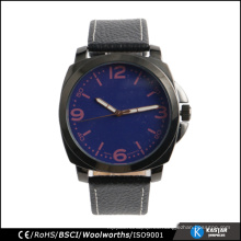 Reloj de lujo de los hombres de cuero negro wristband, el último reloj de moda