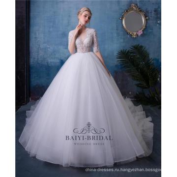Сексуальная V-образным вырезом с коротким рукавом бисером свадебное платье свадебное платье HA601