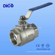 Válvula de bola del hilo de rosca del acero inoxidable 2PC con el certificado de Ce