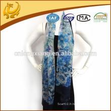 65 * 180 longue taille mince 100% écharpes en soie, usine Chine Wholesale Chiffon imprimé châle