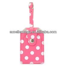 Preciosa etiqueta de equipaje de cuero rosa