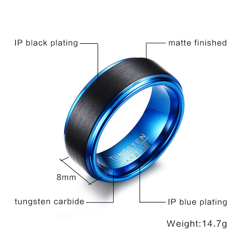 Black And Blue Tungsten Wedding Bands