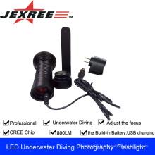 JEXREE CREE XML-T6 Lampe de poche photographique sous-marine avec lampe de poche à batterie intégrée