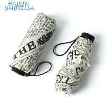 Tissu Pongé Style Britannique Impression Personnalisée Complète 5 Pli Manuelle Léger Mini Parapluie Journal Journal