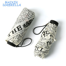 Эпонж Ткань Британский Стиль Полный Пользовательские Печати 5 Раза Вручную Облегченный Мини-Зонт Газета Шаблон