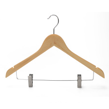 Wholesale cheap natural color bamboo skirt hanger with clips