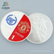 Regalo promocional Metal Craft Custom 999 Silver Football Souvenir Coin