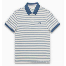 OEM Custom Two Colors Men Striped Polo Shirt Embroidery Logo