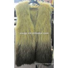 Gilet en fourrure de raton laveur véritable sans manches teint couleur fashion design