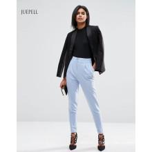 Uniforme Office cintura alta mulheres calças com Turn Up Detalhes