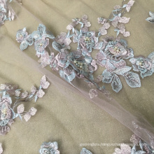 Blue Pink Flower Polyester Mesh Handmade Flower Fabric