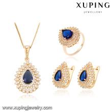 63881 Xuping ювелирные изделия 18k, горячие продажи Свадебные ювелирные изделия набор 18k позолоченный