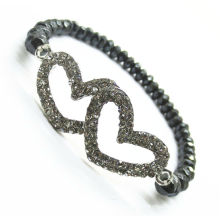 Diamante Alloy double heart in the middle and hematite 6mm faceted abacus beads Stretch Hematite bracelet
