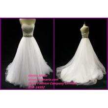 Crystal Hochzeit Fabrik Kleider ärmellosen Brautkleider Liebsten Perlen Gürtel Damen Offizielle Kleider BYB-14592
