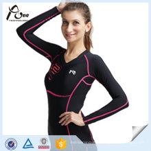 Camisas de mulher Customzied Compression Sport Wear Wholesale