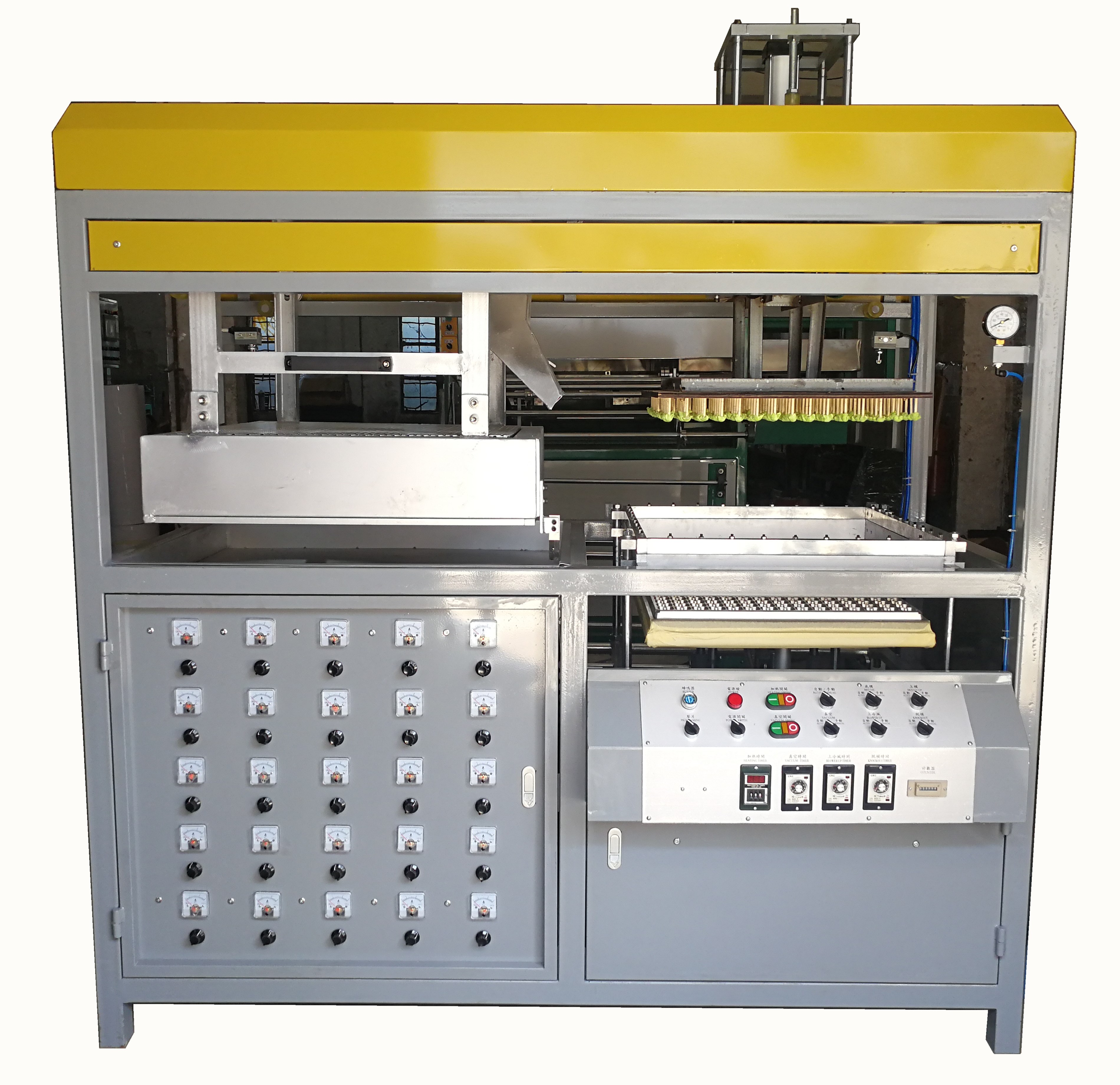 Automatic High Speed Vacuum Forming Machine Applications The manual blister vacuum forming machine is suitable for materials like PVC,PE, PET,PC,PP,HIPS,APET,PETG,PS, etc. And it's mainly used in the production of snack boxes, various plastic trays, fruit trays, biscuit boxes, toothbrushes, batteries, gifts, cosmetics packaging boxes, toys, stationery, hardware, stationery, decorations, plastic containers, pills and so on. Automatic High Speed Vacuum Forming Machine Features 1. The semi auto blister vacuum forming machine adopts mitsubishi inverter as a master control system. Material length is accurate to within ± 3mm. 2. The cooling fan is equipped with a wide mouth and spray device, to improve efficiency and product quality. 3. There are four processing parts: forming, cutting, stacking & counting, which are simultaneously completed, greatly increased the production speed. 4. The vacuum forming machine for blister clamshell imported electrical and pneumatic components from International well-know manufacturer make the machine features reliable quality and wearing well. 5. It is suitable for male mold and female mold forming, which adopts the integration of positive and negative air pressure to ensure good molding quality and precise molding size. Automatic High Speed Vacuum Forming Machine