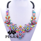 Statement Acrylic Stones Crystal Fashion Costume Jewelry Flower Beaded Necklace